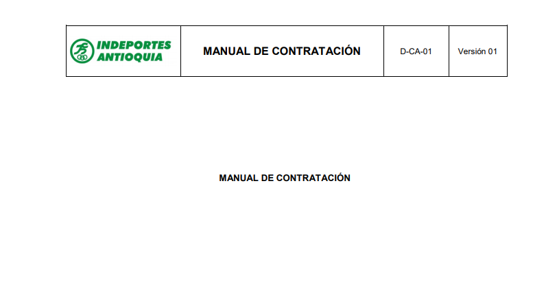 manual contratación 2019 Indeportes Antioquia